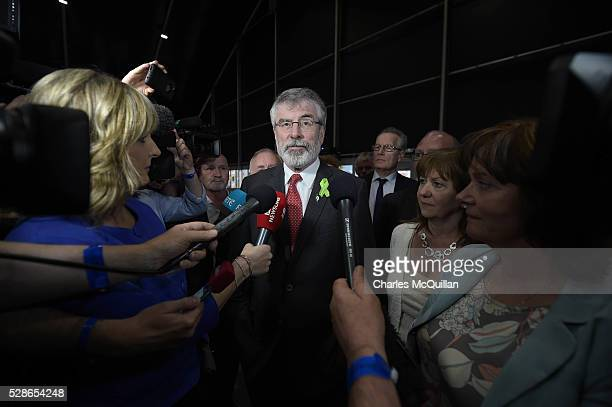 Sinn Fein President Gerry Adams holds a press conference as he arrives at the Northern Ireland Assembly count at the Titanic Exhibition Centre on May...