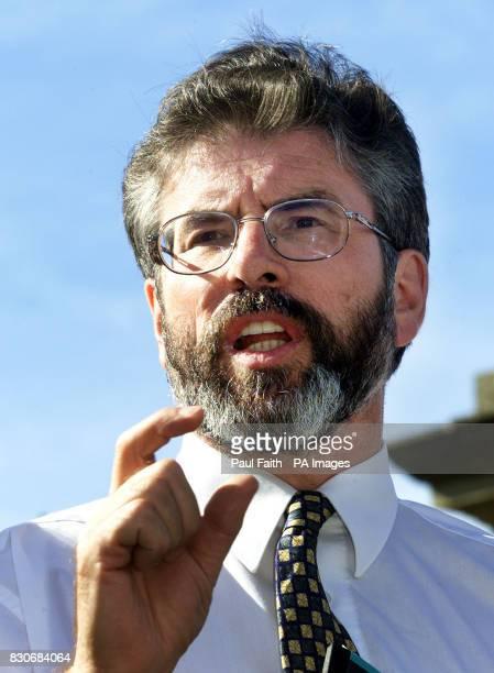 Sinn Fein President Gerry Adams leaves Hillsborough Castle after talks with secretary of state John Reid Mr Adams said afterwards 'He cannot suspend...