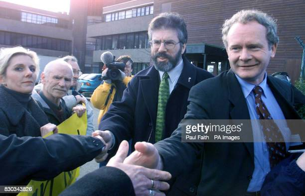 Sinn Fein President Gerry Adams left with Martin McGuinness leaving Castle Buildings Belfast after their meeting with Secreatary of State for...
