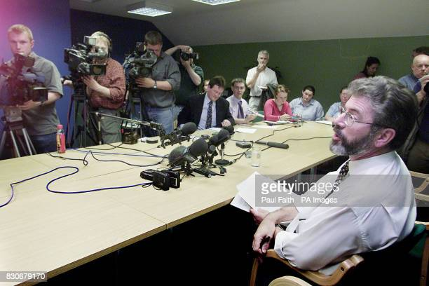 Sinn Fein President Gerry Adams meets the press at his party offices in Belfast after the British and Irish goverments unveiled their plans to break...