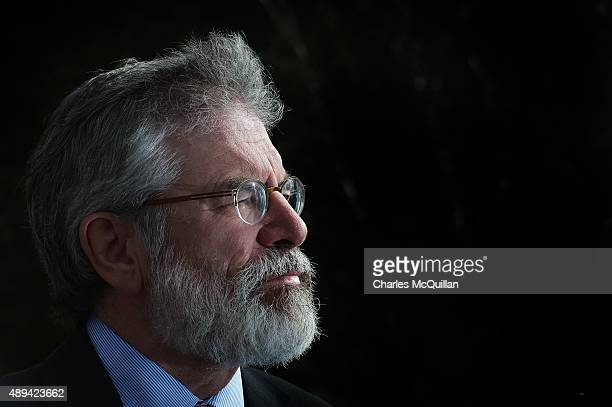 Sinn Fein President Gerry Adams pictured at a press conference at Stormont on September 21 2015 in Belfast Northern Ireland The Northern Irish...