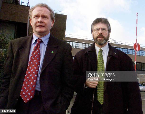 Sinn Fein President Gerry Adams right with Martin McGuinness leaving Castle Buildings Belfast after their meeting with Peter Mandelson the Secretary...