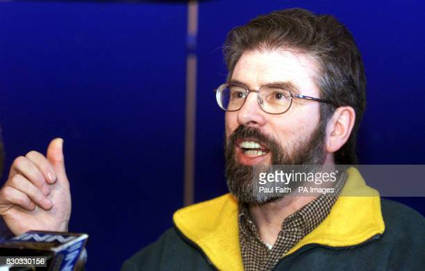 Sinn Fein President Gerry Adams speaking to the press in Belfast It is the first day of direct rule from Westminster after Peter Mandelson suspended...
