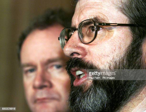 Sinn Fein President Gerry Adams with Martin McGuinness speaking to the press at Parliament buildings in Belfast after Secretary of State for Northern...
