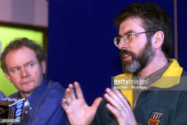 Sinn Fein President Gerry Adams with Martin McGuinness speaking to the press in Belfast It is the first day of direct rule from Westminster after...