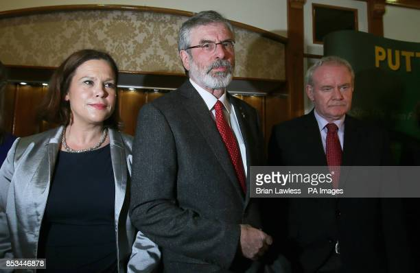 Sinn Fein president Gerry Adams with Sinn Fein deputy leader Mary Lou McDonald and Northern Ireland Deputy First Minister Martin McGuinness as he...