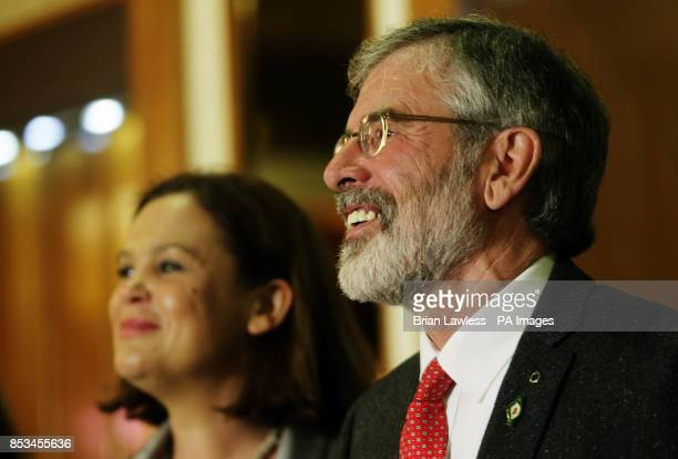 Sinn Fein president Gerry Adams with Sinn Fein deputy leader Mary Lou McDonald during a press conference at the Balmoral Hotel Belfast after his...