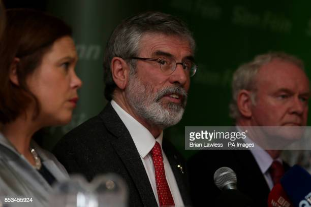 Sinn Fein president Gerry Adams with Sinn Fein deputy leader Mary Lou McDonald and Northern Ireland Deputy First Minister Martin McGuinness during a...