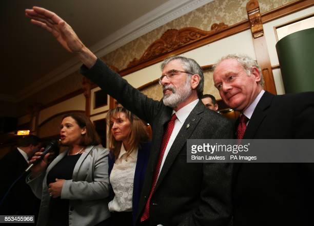 Sinn Fein president Gerry Adams with Sinn Fein deputy leader Mary Lou McDonald and Northern Ireland Deputy First Minister Martin McGuinness following...