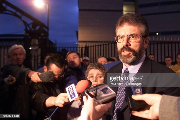 Sinn Fein President Gerry Adams with supporters outside Belfast Magistrates court Ulster Unionist leader David Trimble was reported tonight to be on...