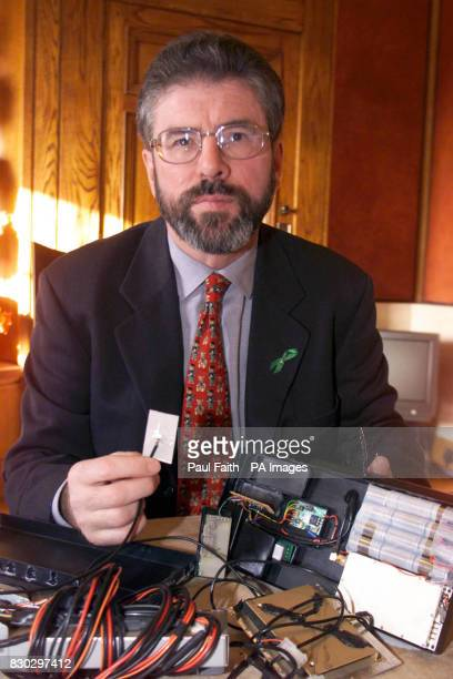 Sinn Fein President Gerry Adams with the sophisticated tracking device which was found in one of of the cars used by Sinn Fein Adams had produced the...