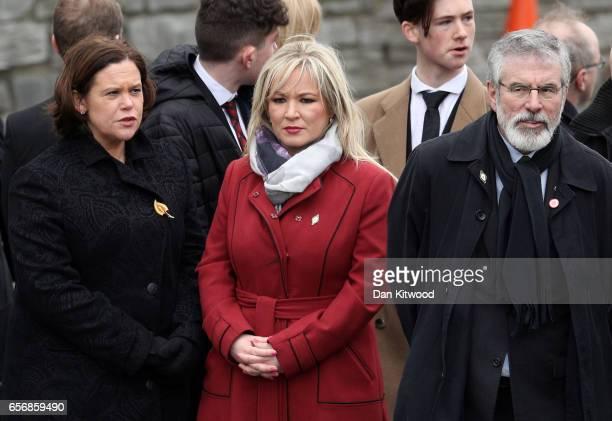 Sinn Fein Southern leader Mary Lou McDonald Northern Ireland Leader Michelle O'Neill and Sinn Fein President Gerry Adams arrive at St Columba's...