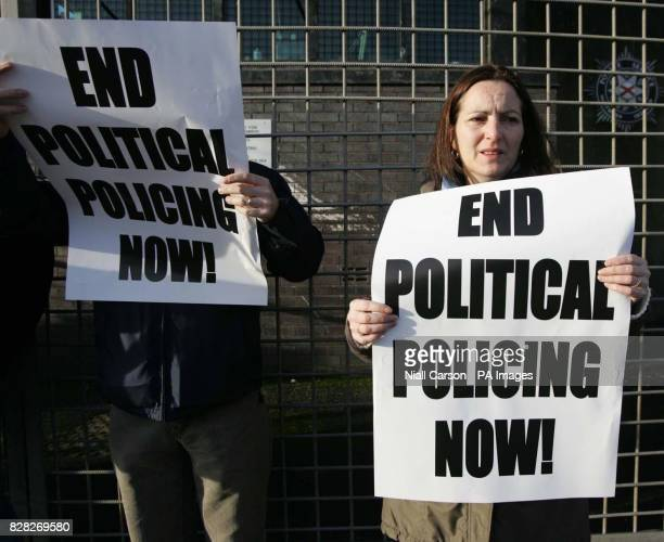 Sinn Fein's Cathy Stanton at a party picket outside North Queen Street Station in north Belfast Saturday December 17 2005 The picket was called in...
