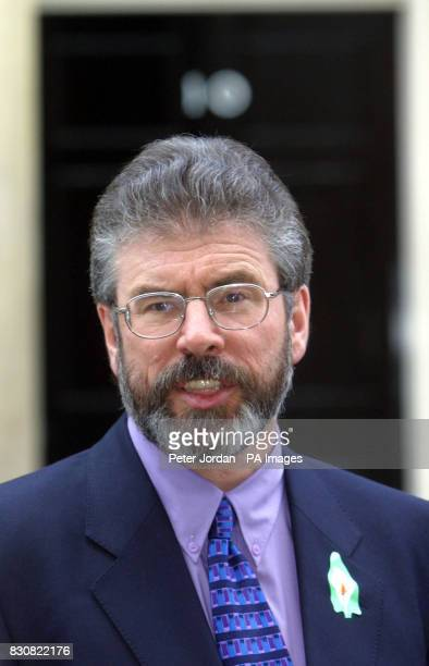 Sinn Fein's Gerry Adams speaks to the media before holding talks with British Prime Minister Tony Blair at Downing Street in central London