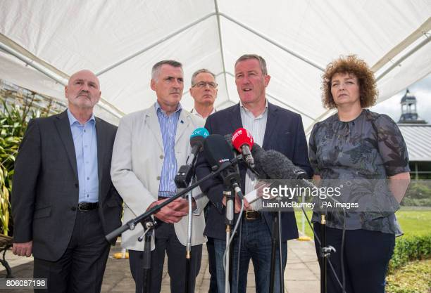 Sinn Fein's negotiator Conor Murphy with party colleagues Alex Maskey Declan Kearney Gerry Kelly and Caral N Chuiln speaking to the media at Stormont...