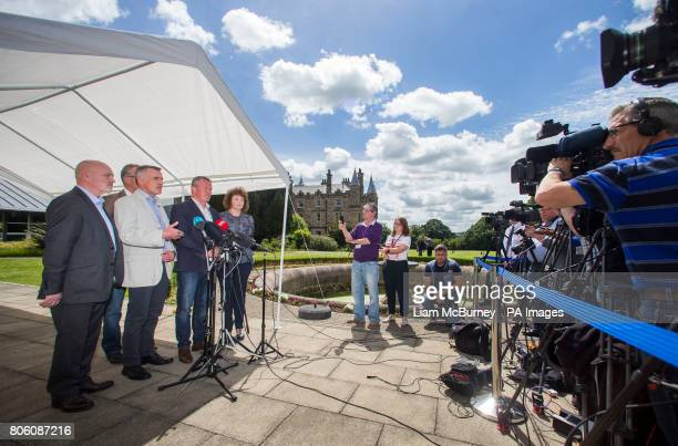 Sinn Fein's negotiator Declan Kearney with party colleagues Alex Maskey Gerry Kelly Conor Murphy and Caral N Chuiln speaking to the media at Stormont...