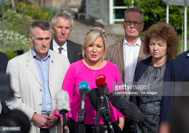 Sinn Fein's Northern Ireland leader Michelle O'Neill speaking to the media accompanied by party colleagues Declan Kearney Mairtin O Muilleoir Gerry...
