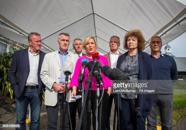 Sinn Fein's Northern Ireland leader Michelle O'Neill speaking to the media accompanied by party colleagues Conor Murphy Declan Kearney Mairtin O...