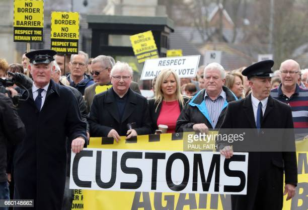 Sinn Fein's Northern Leader Michelle O'Neill joins members of the anitbrexit campaign group 'Border communities against Brexit' as they demonstrate...