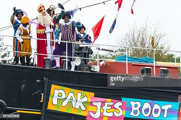 Sinterklaas arriving in The Netherlands with his steamboat