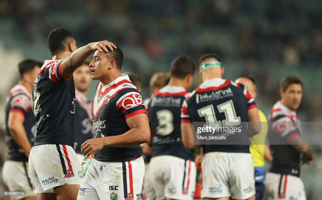 Sio Siua Taukeiaho of the Roosters celebrates scoring a try with team mates during the round 21 NRL match between the Sydney Roosters and the North Queensland Cowboys at Allianz Stadium on July 29, 2017 in Sydney, Australia.
