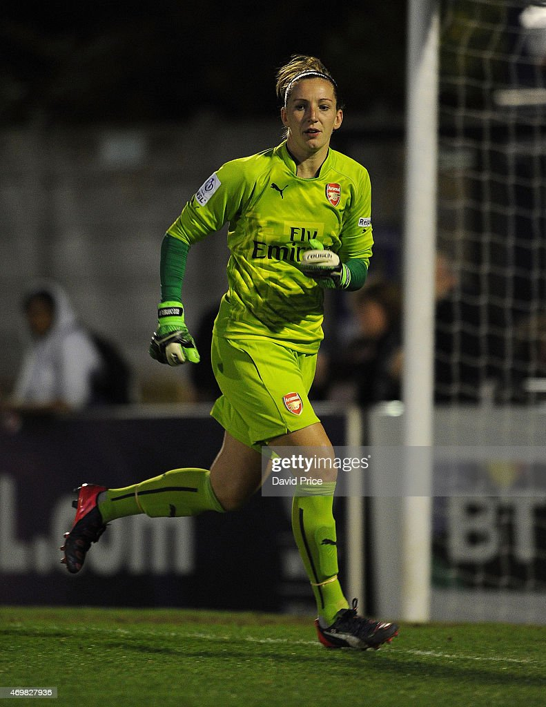 Siobhan Chamberlain of Arsenal Ladies during the WSL match between Arsenal Ladies and Bristol Academy at Meadow Park on April 15 2015 in Borehamwood...