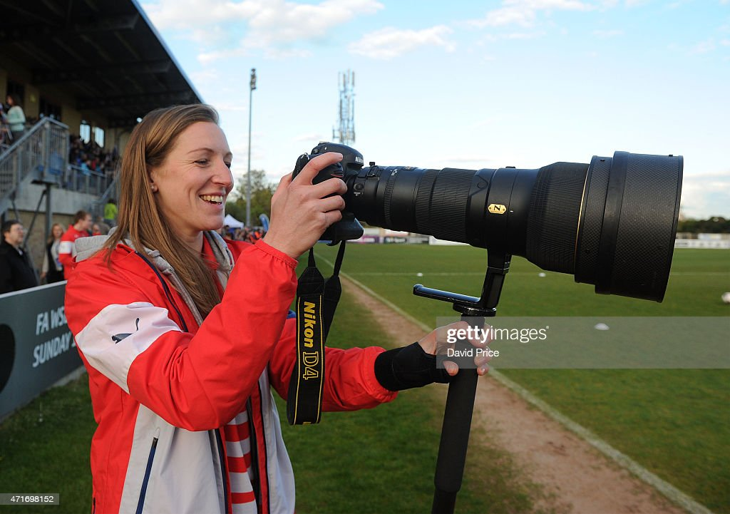 Siobhan Chamberlain of Arsenal Ladies has a go a photographing the warm up before the match between Chelsea Ladies and Arsenal Ladies in the WSL on...