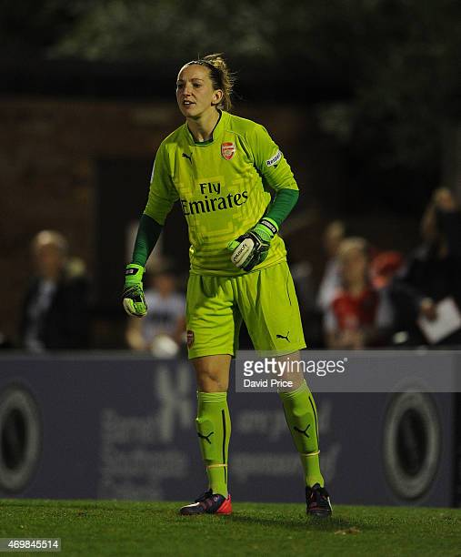Siobhan Chamberlain of Arsenal Ladies takes on Sophie Ingle of Bristol during the WSL match between Arsenal Ladies and Bristol Academy at Meadow Park...