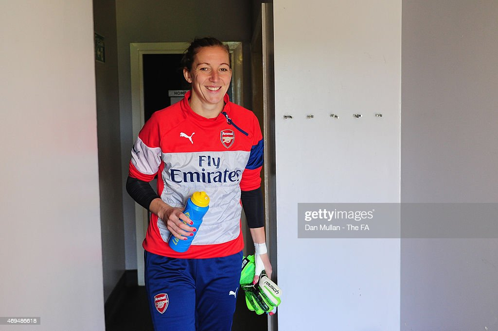 Siobhan Chamberlain of Arsenal makes her way out of the changing rooms ahead of the FA Women's Cup Quarter Final match between Arsenal and Chelsea at...