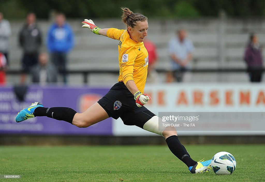 Siobhan Chamberlain of Bristol Academy Women FC in action during the FA WSL match between Arsenal Ladies FC and Bristol Academy Women FC at Meadow...