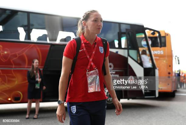 Siobhan Chamberlain of England arrives at the stadium ahead of the UEFA Women's Euro 2017 Semi Final match between Netherlands and England at De...
