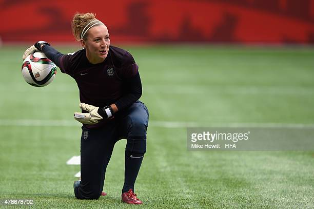 Siobhan Chamberlain of England in action during an England Training Session ahead of the FIFA Women's World Cup 2015 Quarter Final match between...