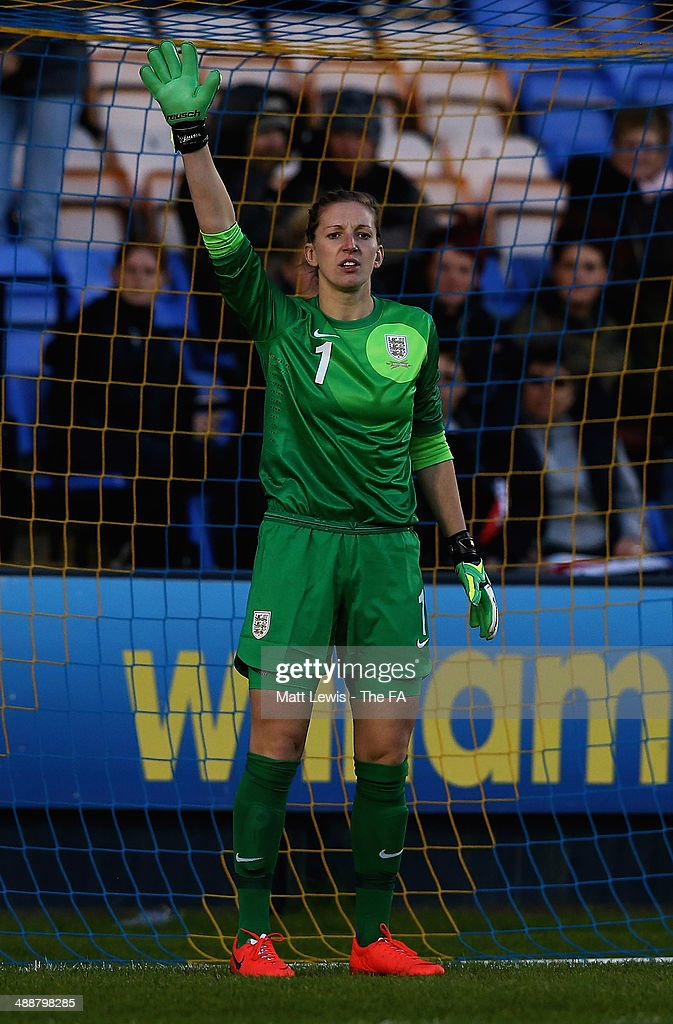 Siobhan Chamberlain of England in action during the FIFA Women's World Cup Qualifier match between England and Ukraine at Greenhous Meadow on May 8...