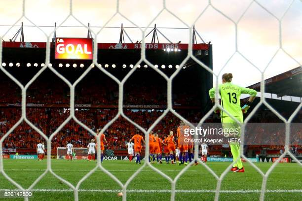Siobhan Chamberlain of England is seen after getting the first goal during the UEFA Women's Euro 2017 Second Semi Final match between Netherlands and...
