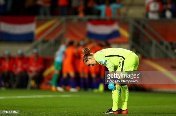 Siobhan Chamberlain of England looks dejected after conceding during the UEFA Women's Euro 2017 Semi Final match between Netherlands and England at...