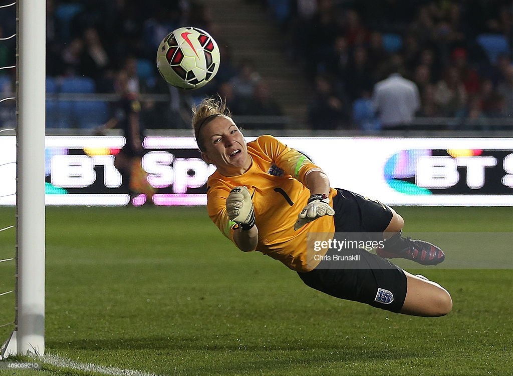 Siobhan Chamberlain of England makes a save during the Women's Friendly International match between England and China at the Manchester City Academy...