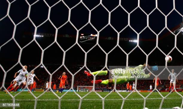 Siobhan Chamberlain of England saves during the UEFA Women's Euro 2017 Semi Final match between Netherlands and England at De Grolsch Veste Stadium...