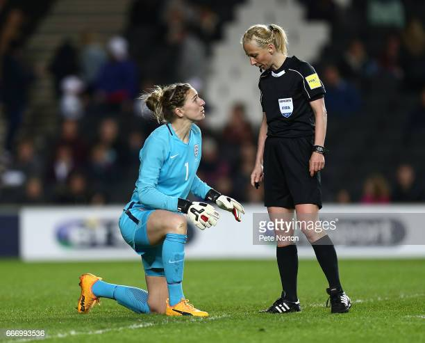 Siobhan Chamberlain of England Women makes a point to referee Gyongyi Gaal during the International Friendly match between England Women and Austria...