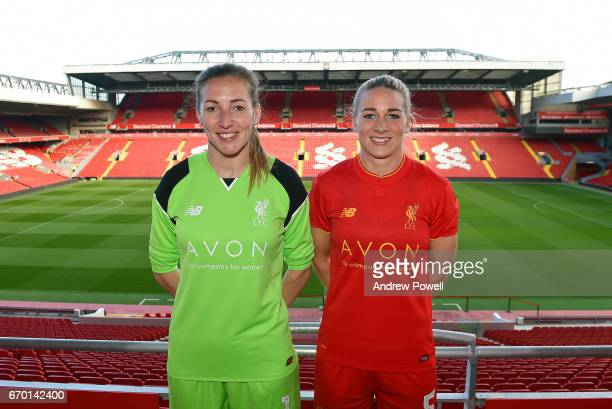 Siobhan Chamberlain of Liverpool Ladies and Gemma Bonner captain of Liverpool Ladies show off new shirt sponsor Avon at Anfield on April 18 2017 in...