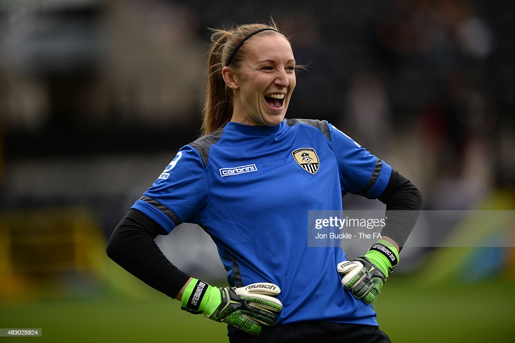 Siobhan Chamberlain of Notts County Ladies FC warms up prior to the WSL match between Notts County Ladies and Bristol Academy Women at Meadow Lane on...