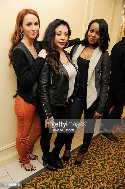 Siobhan Donaghy Mutya Buena and Keisha Buchanan of the Sugababes pose in the press room at The Q Awards 2012 at the Grosvenor House Hotel on October...