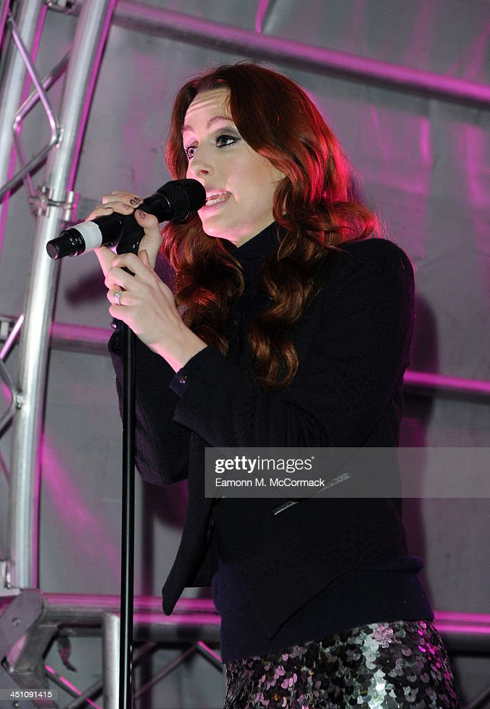 Siobhan Donaghy of the Original Sugababes Mutya Keisha Siobhan (MKS) officially switched on Victoria's lights and launch the 90ft outdoor #CreateChristmas photography exhibition at Cardinal Place on November 21, 2013 in London, England.