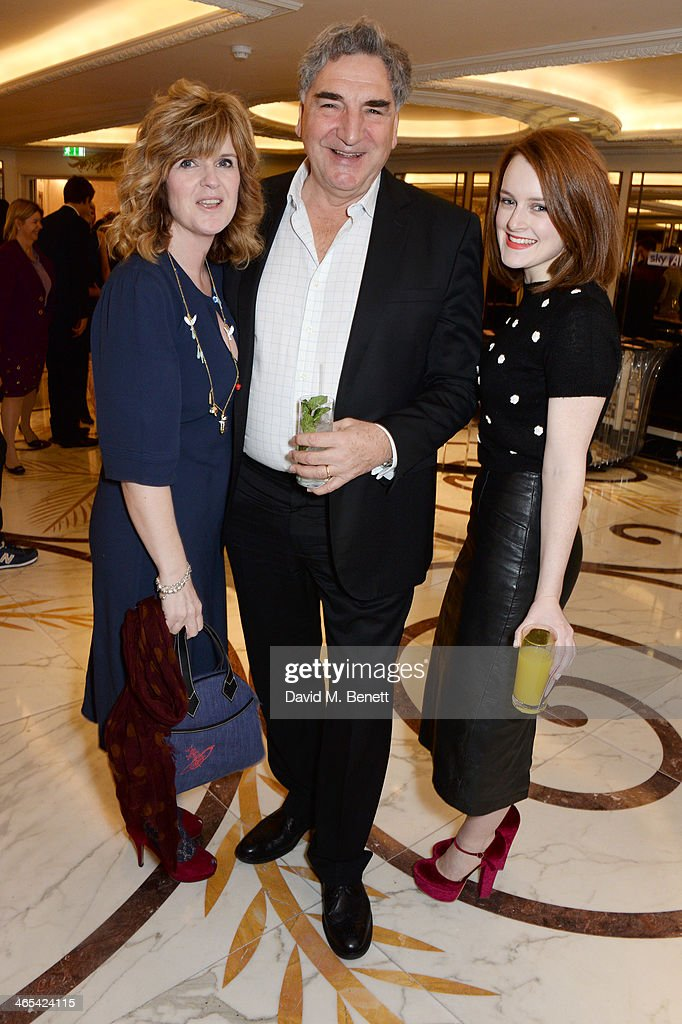 Siobhan Finneran, Jim Carter and Sophie McShera attend a drinks reception at the South Bank Sky Arts awards at the Dorchester Hotel on January 27, 2014 in London, England.