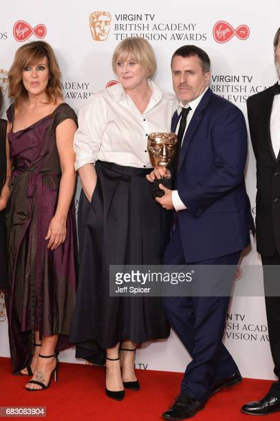 Siobhan Finneran Sarah Lancashire and Con O'Neill winners of the Drama Series award for 'Happy Valley' pose in the Winner's room at the Virgin TV...