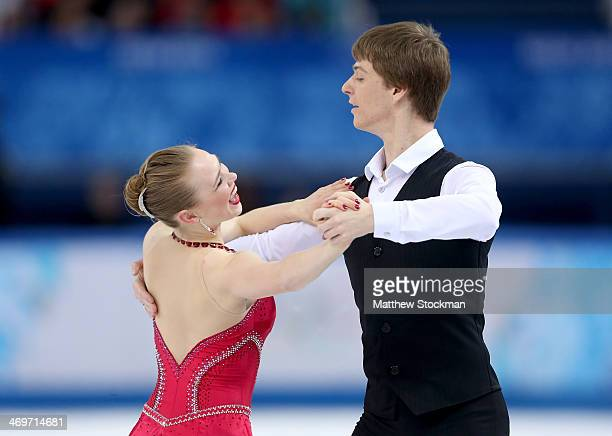 Siobhan HeekinCanedy and Dmitri Dun of Ukraine compete during the Figure Skating Ice Dance Short Dance on day 9 of the Sochi 2014 Winter Olympics at...