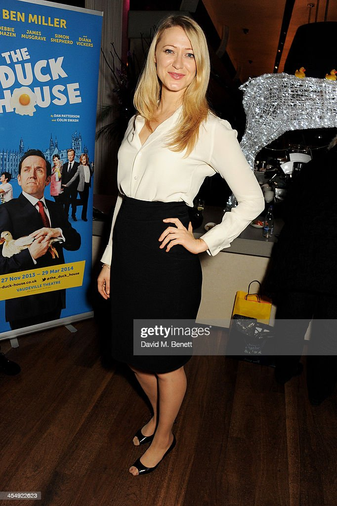 Siobhan Hewlett attends an after party celebrating the press night performance of 'The Duck House' at The Trafalgar Hotel on December 10 2013 in...