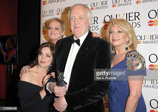 Siobhan McCarthy Maria Friedman Special Award winner Sir Tim Rice and Elaine Paige pose in the press room during the 2012 Olivier Awards at The Royal...