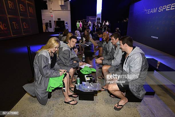 Siobhan O'Connor James Guy Cullen Jones Conor Dwyer and Michael Jamieson prepare backstage during the New York launch of Team Speedo and Speedo's...