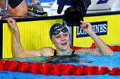 Siobhan O'Connor of England celebrates winning the gold medal in the Women's 200m Individual Medley Final at Tollcross International Swimming Centre...