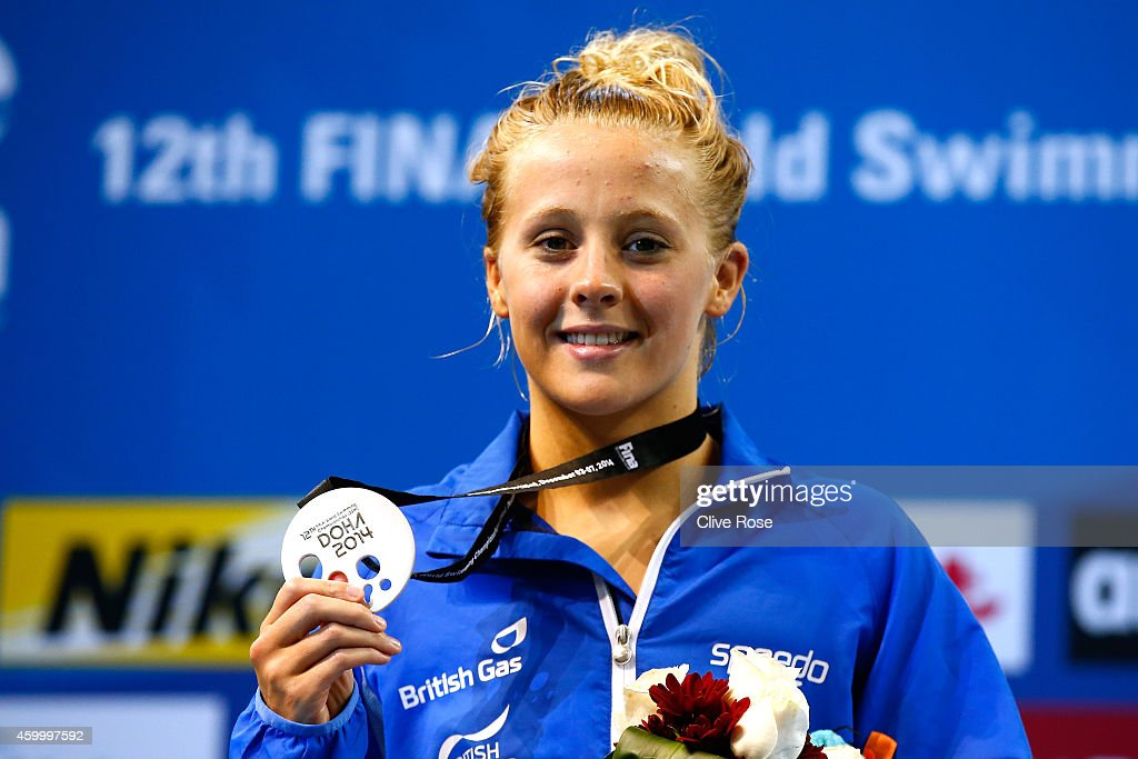 Siobhan-Marie O'Connor of Great Britain poses with her silver medal after finishing second in the Women's 100m Individual Medley Final on day three of the 12th FINA World Swimming Championships (25m) at the Hamad Aquatic Centre on December 5, 2014 in Doha, Qatar.